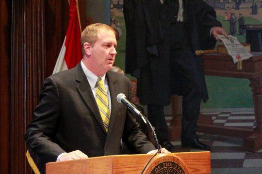 State Treasurer Eric Schmitt discusses Missouri budget transparency (ALISHA SHURR/MISSOURI TIMES.)