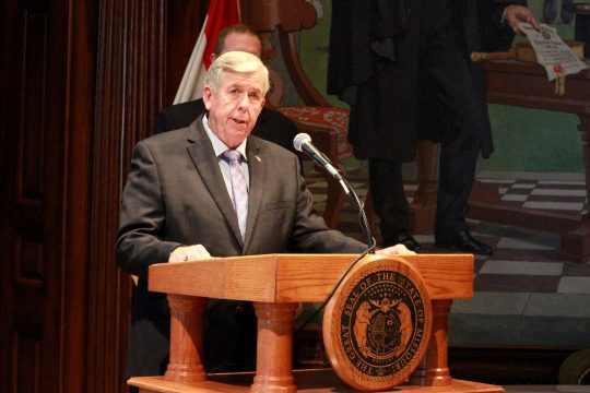 Gov. Mike Parson discusses Missouri budget transparency (ALISHA SHURR/MISSOURI TIMES.)