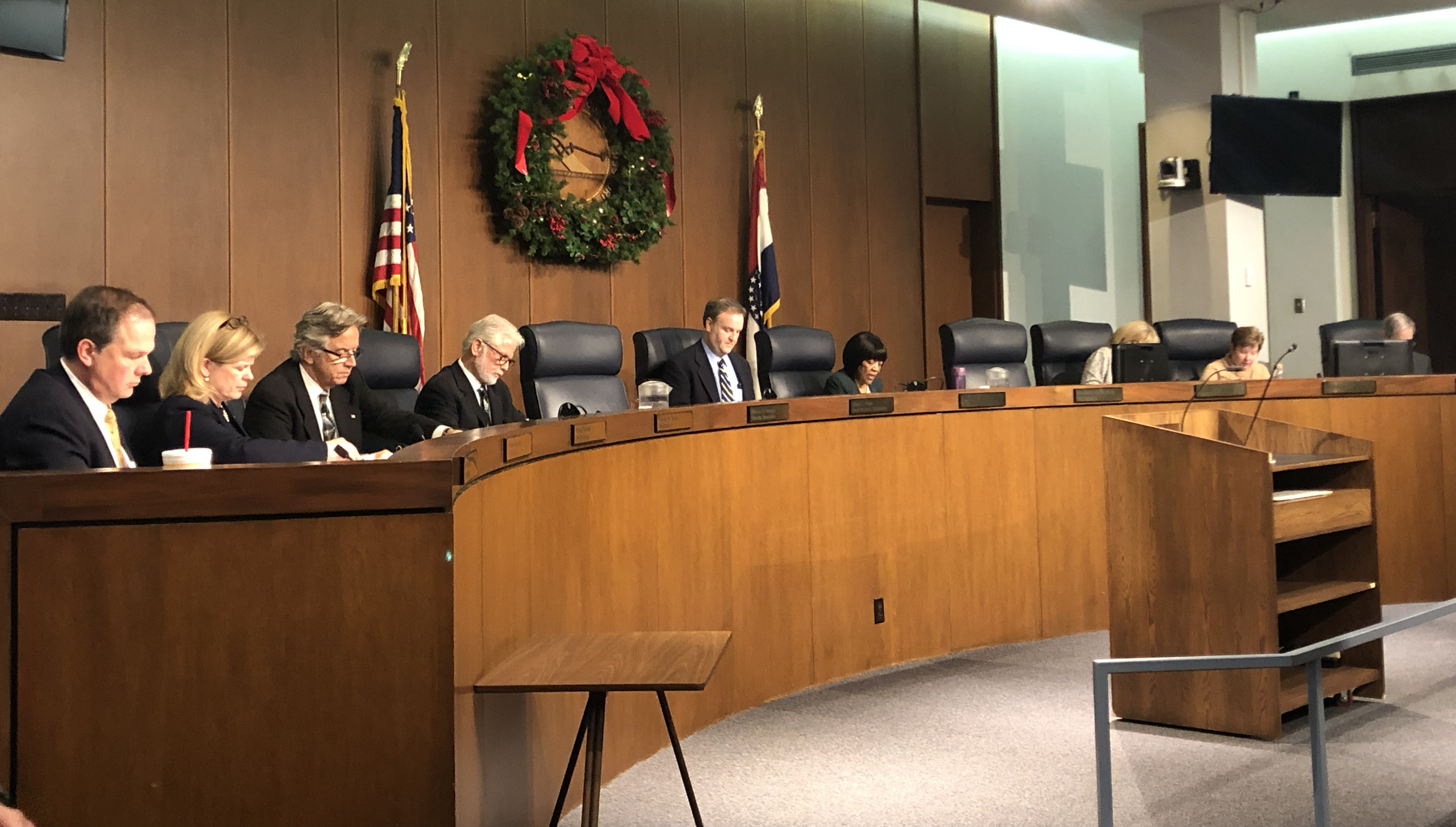 St. Louis County Council members at the meeting on November 27, 2018 (DANIELLE MAE FRANKLIN/CLAYTON TIMES)